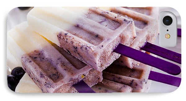 Vanilla And Blueberry Popsicles Phone Case by Teri Virbickis