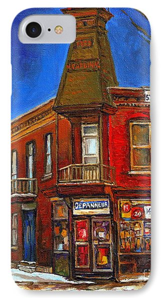 Vanishing Montreal Landmark Depanneur Ste. Emilie And Bourget Montreal Painting By Carole Spandau  Phone Case by Carole Spandau