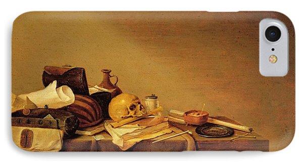 Vanitas Or, Emblem Of Death Oil On Canvas IPhone Case by Pieter van Steenwyck
