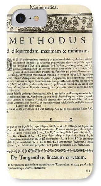 Varia Opera Mathematica By Pierre Fermat IPhone Case