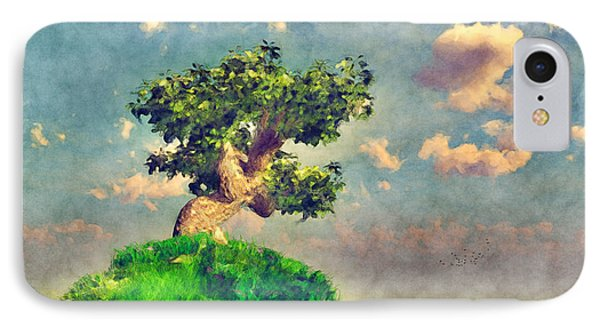 IPhone Case featuring the digital art Variation On Tree On A Steep Hill... by Tim Fillingim