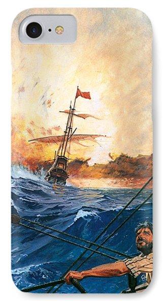 Vasco Da Gama's Ships Rounding The Cape Phone Case by English School