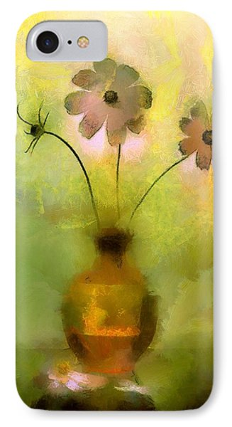 IPhone Case featuring the painting Vase And Flower Glow by Wayne Pascall