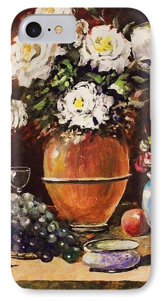 IPhone Case featuring the painting Vase Of Flowers And Fruit by Al Brown
