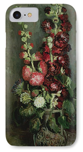 Vase Of Hollyhocks IPhone Case