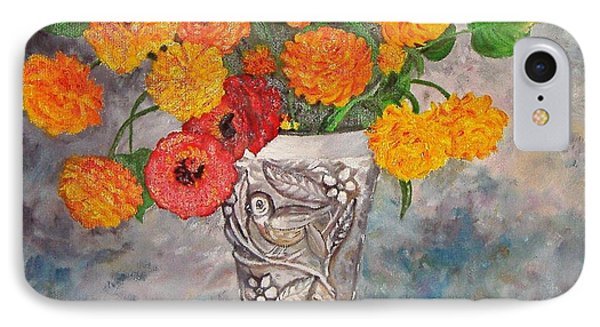 IPhone Case featuring the painting Vase With Bird by Nina Mitkova