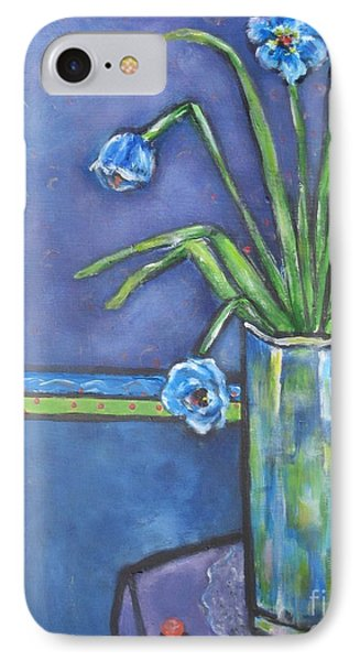 Vase With Blue Flowers And Cherries Phone Case by Chaline Ouellet