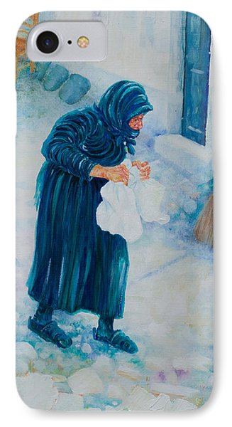 IPhone Case featuring the painting Forenza Vita Nonna Filomena In Blu by Giovanni Caputo