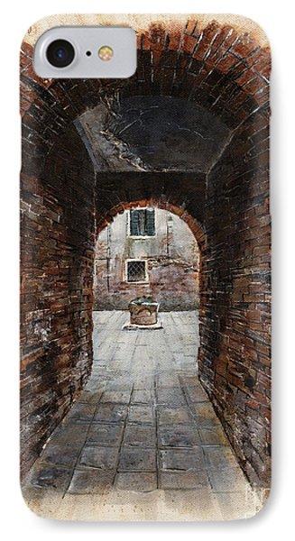 IPhone Case featuring the painting Venetian Courtyard 01 Elena Yakubovich by Elena Yakubovich