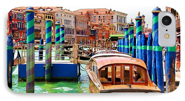 IPhone Case featuring the digital art Venetian Water Taxi by Brian Davis