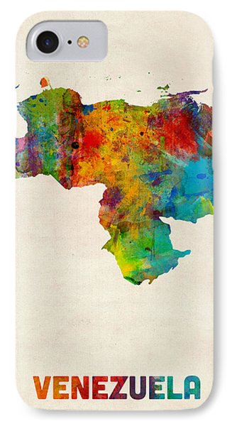 Venezuela Watercolor Map IPhone Case by Michael Tompsett