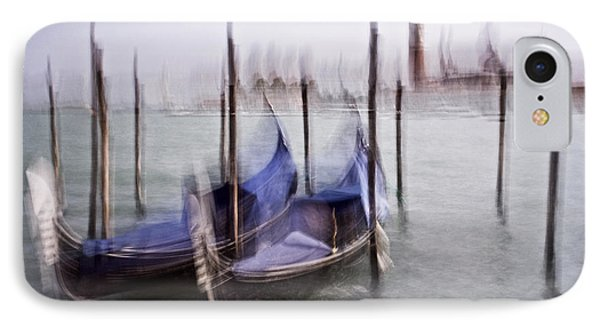 IPhone Case featuring the photograph Abstract Black And White Blue Venice Italy Photography Art Work by Artecco Fine Art Photography