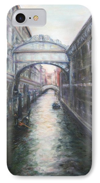 Venice Bridge Of Sighs - Original Oil Painting IPhone Case by Quin Sweetman