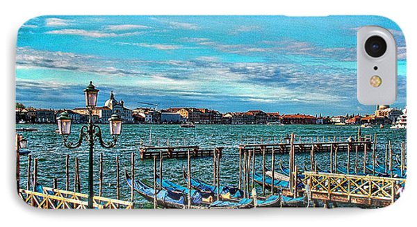 IPhone Case featuring the photograph Venice Gondolas On The Grand Canal by Kathy Churchman