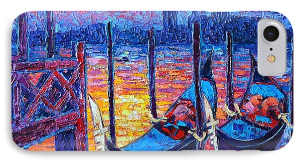 Venice Mysterious Light - Gondolas And San Giorgio Maggiore Seen From Plaza San Marco IPhone Case by Ana Maria Edulescu