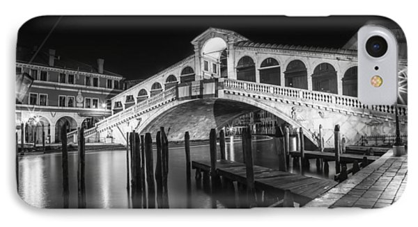 Venice Rialto Bridge At Night Black And White IPhone Case