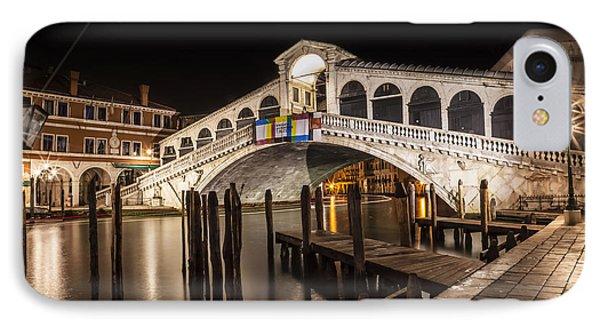 Venice Rialto Bridge At Night IPhone Case by Melanie Viola
