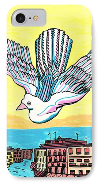 IPhone Case featuring the drawing Venice Seagull by Don Koester