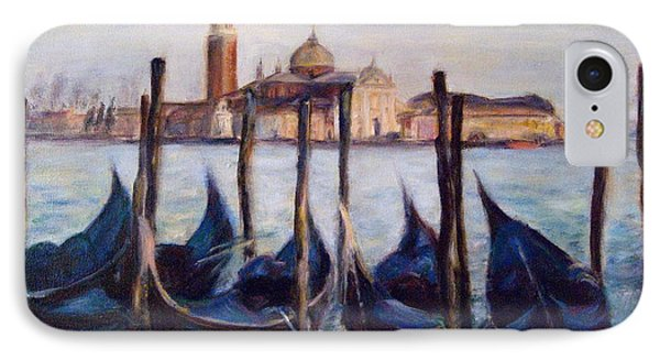 Venice Through The Gondolas Italy Painting Phone Case by Quin Sweetman