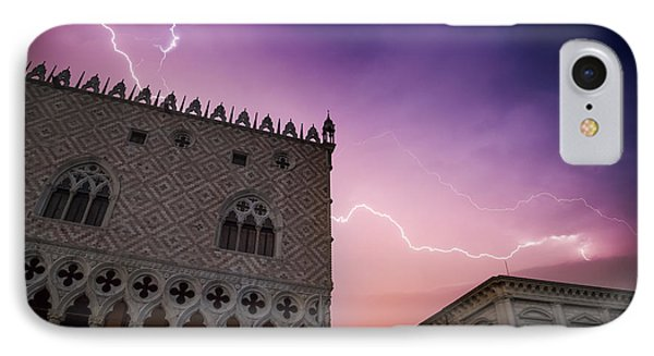 Venice Thunderstorm Over Doge's Palace IPhone Case by Melanie Viola