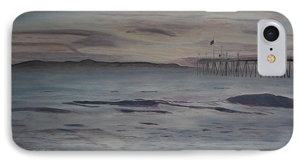IPhone Case featuring the painting Ventura Pier High Surf by Ian Donley