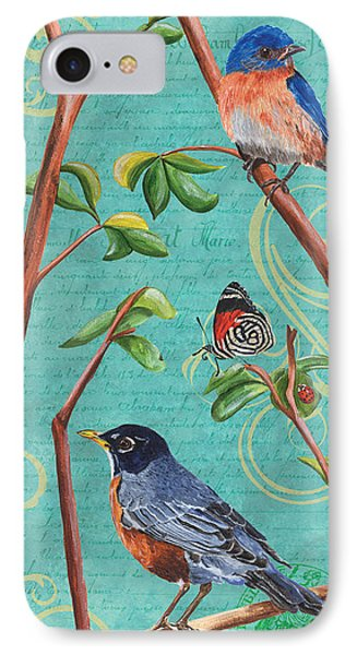 Verdigris Songbirds 1 IPhone 7 Case by Debbie DeWitt