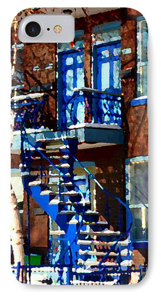 Verdun Duplex Stairs With Birch Tree Montreal Winding Staircases Winter City Scene Carole Spandau IPhone Case by Carole Spandau