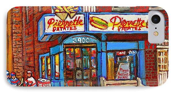 Verdun Famous Restaurant Pierrette Patates - Street Hockey Game At 3900 Rue Verdun - Carole Spandau Phone Case by Carole Spandau