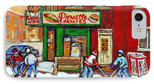 Verdun Hockey Game Corner Landmark Restaurant Depanneur Pierrette Patate Winter Montreal City Scen Phone Case by Carole Spandau