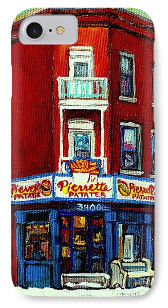 Verdun Landmarks Pierrette Patates Resto Cafe  Deli Hot Dog Joint- Historic Marquees -montreal Scene Phone Case by Carole Spandau