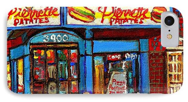 Verdun Restaurants Pierrette Patates Pizza Poutine Pepsi Cola Corner Cafe Depanneur - Montreal Scene Phone Case by Carole Spandau