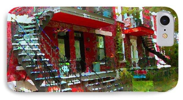 Verdun Spiral Staircases Sprawling Balconies Red Brick Duplex Triplex Montreal Scenes Carole Spandau IPhone Case by Carole Spandau