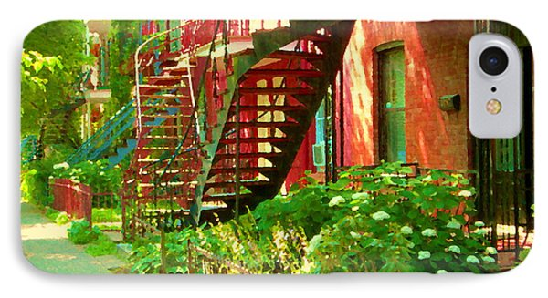 Verdun Stairs Winding Staircases And Fenced Flower Garden Montreal Summer Scene Carole Spandau IPhone Case by Carole Spandau