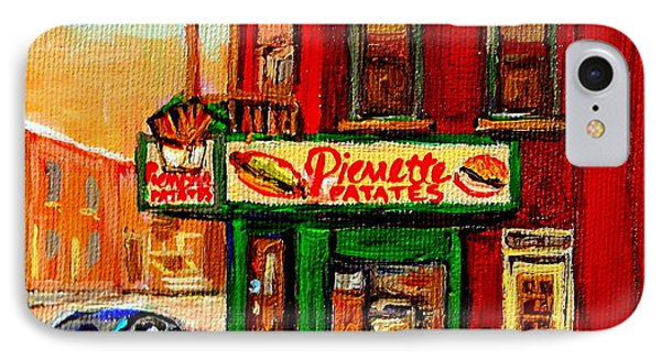 Verdun Street Hockey Pierrettes Restaurant Rue 3900 Verdun -landmark Montreal Hockey Art Work Scenes Phone Case by Carole Spandau