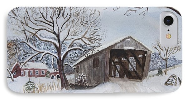Vermont Covered Bridge In Winter IPhone Case by Donna Walsh