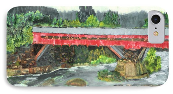 IPhone Case featuring the painting Vermont Covered Bridge by Michael Daniels