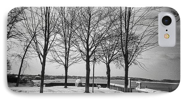Vermont Lake Champlain Burlington Spring Snow Black And White IPhone Case by Andy Gimino