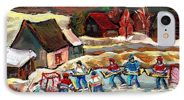 Vermont Pond Hockey Scene Phone Case by Carole Spandau