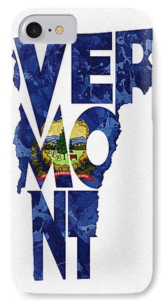 Vermont Typographic Map Flag IPhone Case by Ayse Deniz