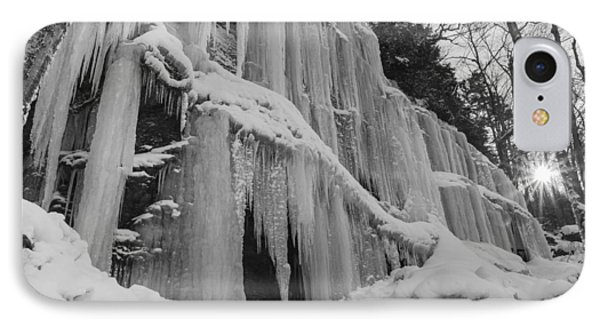 Vermont Waterfall Ice Black And White Forest IPhone Case by Andy Gimino