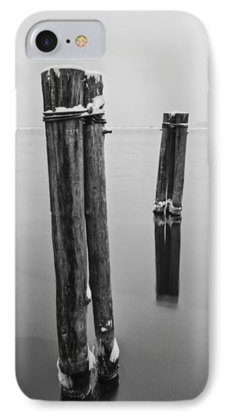 Vermont Winter Lake Champlain Storm Black And White IPhone Case by Andy Gimino