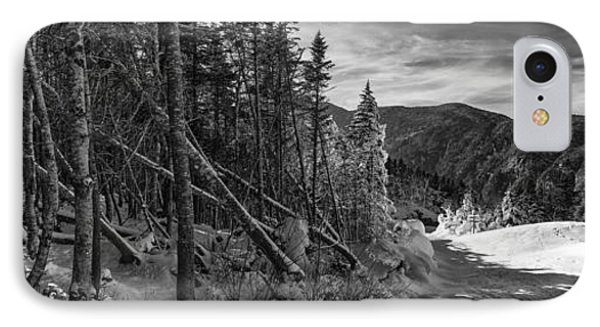 Vermont Winter Mount Mansfield Mountain Forest Snow Black And White IPhone Case by Andy Gimino