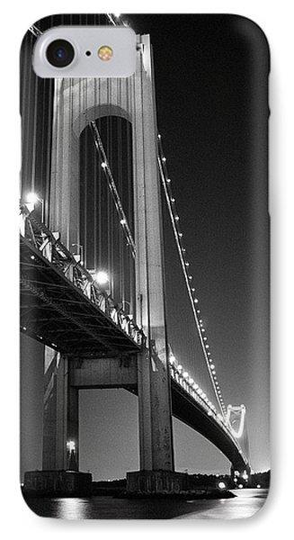 Verrazano Bridge At Night - Black And White IPhone Case by Gary Heller