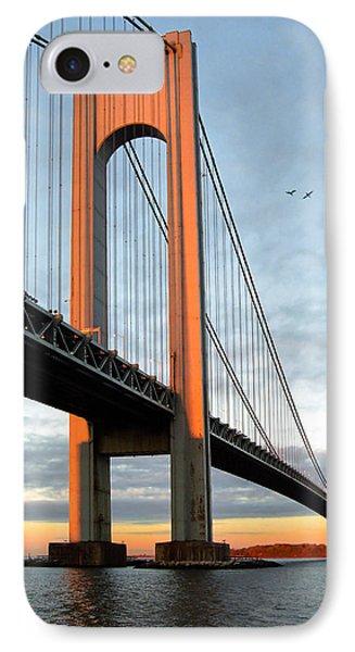 Verrazano Bridge At Sunrise - Verrazano Narrows IPhone Case by Gary Heller