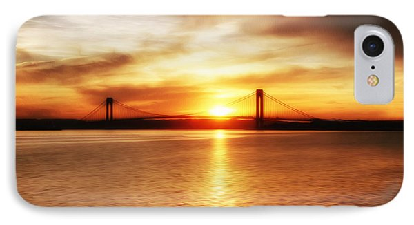 IPhone Case featuring the painting Verrazano Bridge At Sunset by Boris Mordukhayev