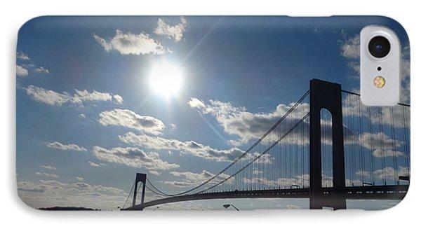Verrazano Bridge Sunset IPhone Case by Lyric Lucas
