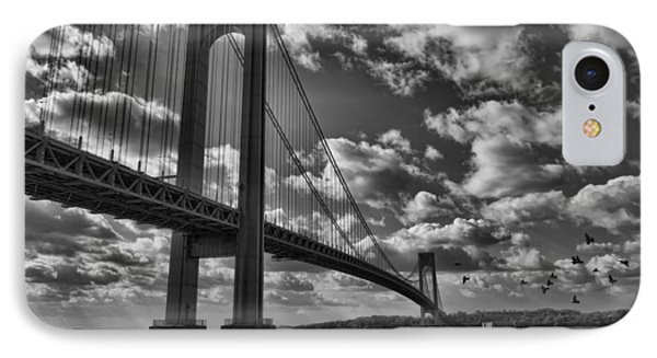Verrazano Narrows Bridge In Bw IPhone Case by Terry Cork