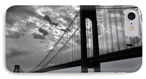 Verrazano Sky Bw IPhone Case by Mitch Cat