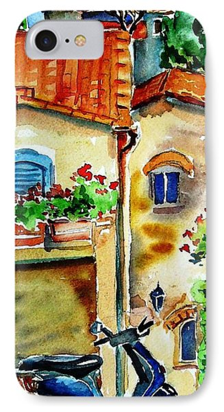 IPhone Case featuring the painting Vespa In Tuscany  by Trudi Doyle
