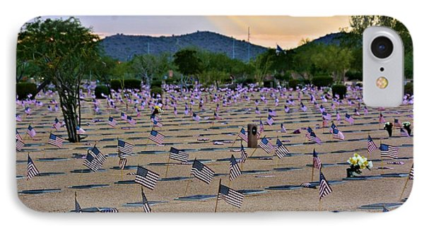 Vets Cemetery Sunset IPhone Case by Richard Jenkins